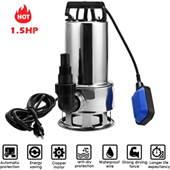 DEKO 1HP 750W 3302GPH Sump Pump Submersible Clean//Dirty Water Pump Swimming Pool Garden Tub Pond Flood Drain w//Long 16ft Cable and Float Switch