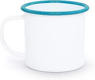 Enamelware Mug, 12 ounce, Vintage White/Turquoise (Set of 4)