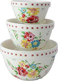 Pantry Size 3-Pc Nested Porcelain Mixing Bowl Set by Grace Teaware. Microwave Safe, Freezer Safe. 3-Sizes 42, 22 and 10-Ounce. (Shabby Rose)
