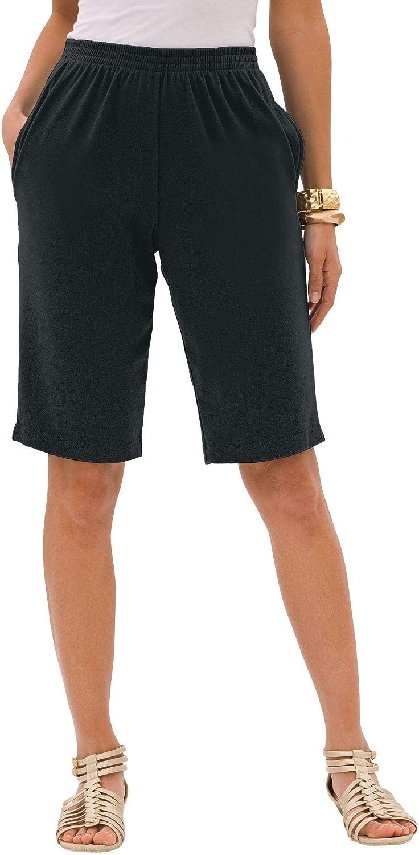 Roamans Women's Plus Size Soft Knit Bermuda Short Pull On Elastic Waist