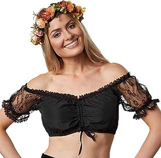 dressforfun dressforfun 900593 Dirndlbluse mit Carmen Ausschnitt und Spitzen Rüschen, kurz, schwarz - Diverse Größen - XL | Nr. 303068