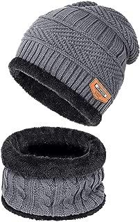 Warm Winter Beanie Hat & Scarf Set Stylish Knit Skull Cap for Men Women