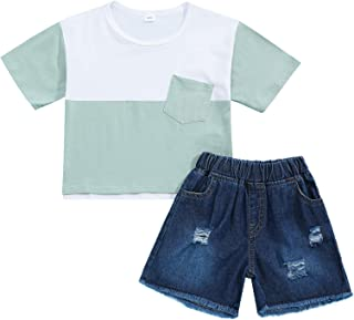 Baby Girls Fashion Clothes Short Sleeve Top and Ripped Pant Todder Girl 2Pcs Summer Outfit Sets