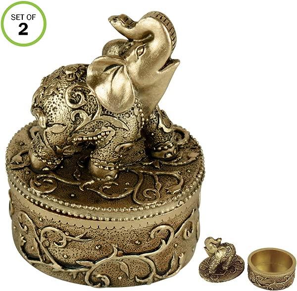 Evelots Jewelry Trinket Box Elephant Wedding Ring Hand Painted Keepsake Set 2