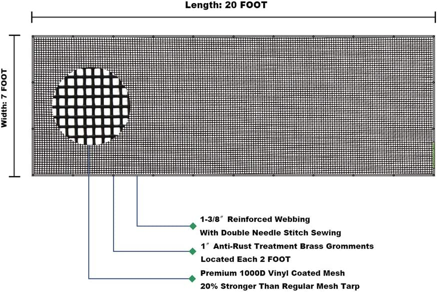 leaveshade Truck Mesh Tarp 10X15-Tentproinc Heavy Duty Cover No Rust Thicker Copper Eyelets with Zip Handle Bag-3 Years Lasting Reinforced Double Needle Stitch Webbing Ripping Tearing Stop