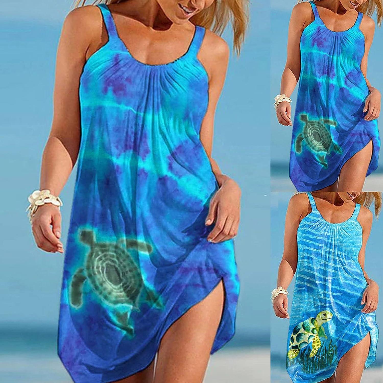 ONHUON Sundresses for Women Summer, Women Casual Beach Sundress Sleeveless Bohemian Mini Dresses Loose Tank Dress