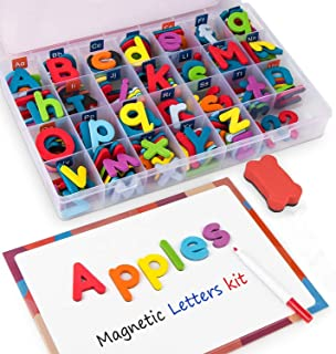 Magnetic Alphabet Letters Kit Colorful 238 Pcs with Double-Side Magnet Board for Preschool Kids Toddler Spelling and Learning
