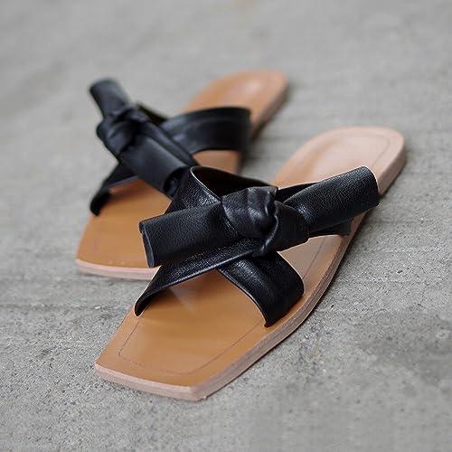 DHG Sandales Femmes Chaussures Plates D'été Bow Loisirs Paresseux Doux Chaussures de Plage Porter des Pantoufles,Noir,39