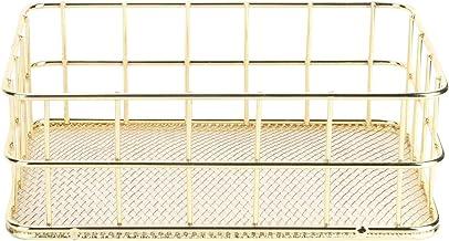 Fdit Złoty nordycki żelazny kosz do przechowywania wielofunkcyjny druciany organizer na biurko do dekoracji domu (2 #)
