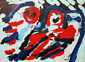 Karel Appel Moving Couple in a Landscpe Pencil Signed Lithograph 1980 Artist Proof