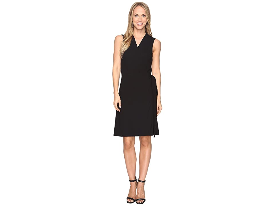 Vince Camuto Sleeveless Belted Wrap Dress (Rich Black) Women