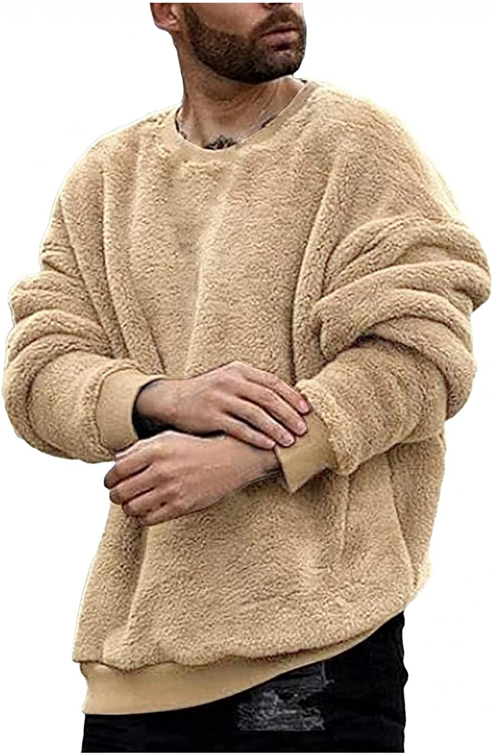 LEIYAN Mens Fuzzy Fleece Pullover Long Sleeve Casual Oversized Fluffy Shearling Sherpa Lined Sweatshirts Jumpers Tops