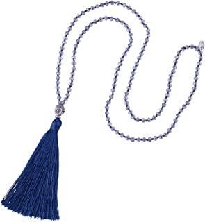 Tassel Beads Necklace Buddha Strand Long Statement Jewelry for Women