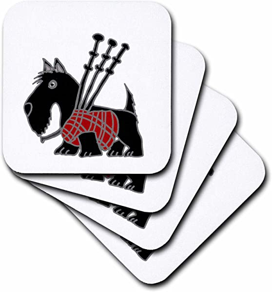 3dRose Funny Scottish Terrier Playing The Bagpipes Soft Coasters Set Of 8 CST 218740 2