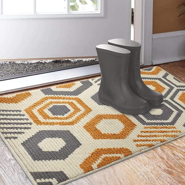 Color Geometry Doormat Outdoor Indoor Waterproof Non Slip Washable Quickly Absorb Moisture And Resist Dirt Rugs 24 X36