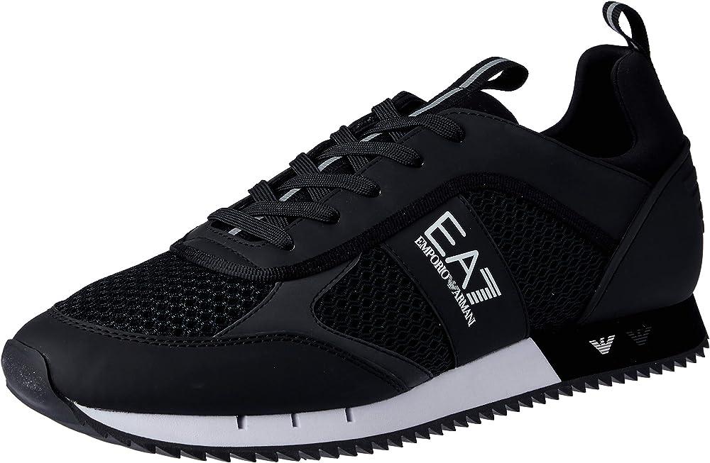 Emporio armani ea7,scarpe sneakers per uomo,in mesh tecnico e poliuretano, ecocamoscio X8X027 XK050B