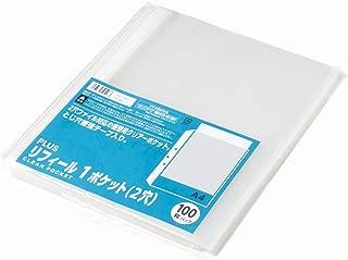 プラス リフィル 透明 A4 1ポケット 2穴 徳用100枚 RE-172PP 87-695