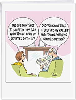 XL Funny Anniversary Card - 'stuffed When Dating' for Girlfriend, Boyfriend, Wife or Husband With Envelope 8.5 x 11 Inch - A Big Gift to Remember This Year! J4016ANG