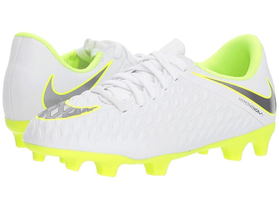 Nike Kids Hypervenom Phantom 3 Club Firm Ground Soccer (Toddler/Little Kid/Big Kid) (White/Metallic Cool Grey/Volt/Metallic Cool Grey) Kids Shoes