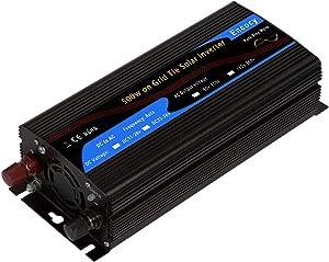 Encocy 500w Solar on Grid Tie Inverter DC22-56v to AC90-130v Converter (DC22-56v, Black)