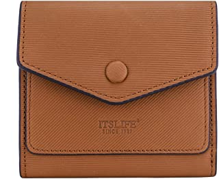 Small Leather Wallet for Women, RFID Blocking Women's Credit Card Holder Mini Bifold Purse Pocket (Stripe Brown)