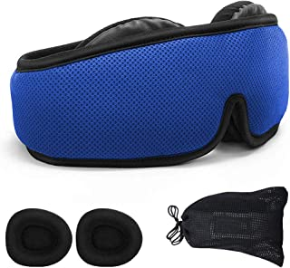NATURE CARE 2019 Total Blackout Eye Mask for Sleeping | Breathable 3D Padded Memory Foam Modular Design Totally Adjustable & Perfectly Compact for Travel & Camping Men & Women (Blue)
