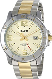 Casio MTP-VD01SG-9BVUDF Two-Tone Stainless Steel Gold Dial Tachymeter Bezel Round Analog Watch for Men - Silver