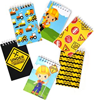 48 Count Construction Mini Notepads Birthday Party Construction Theme Supplies Truck Decorations for Kids Party Favors Toy...