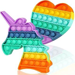 Pop Up It Fidget Toy Rainbow Unicorn Push On Pop Bubble Sensory Fidget Toys 2 Pack for اضطراب