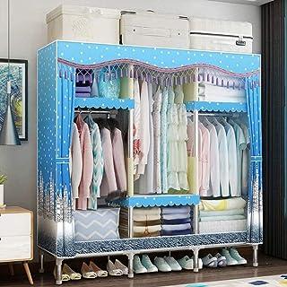 HWG Armoire en Toile Armoire Portable Organisateur De Rangement De Vêtements avec 3 Tringles à Vêtements, 5 étagères pour ...