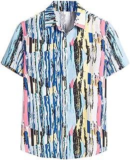 sweetnice man clothing Mens Short Sleeve Hawaiian Shirt Casual Beach Party Retro Floral Printed Button Linen Shirt