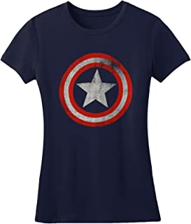 Captain America - Womens Distressed Shield T-Shirt