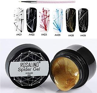ROSALIND 6 Colors Spider Gel + Pincel para pintar gratis Nail Art DIY Design Punto a dibujo en línea y decoración de pint...