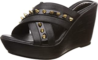 Catwalk Women's Studded Cross Strap Wedges