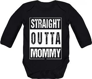ShirtStreet Geschenkidee Gangster Hip Hop Strampler Bio Baumwoll Baby Body langarm Straight Outta Mommy