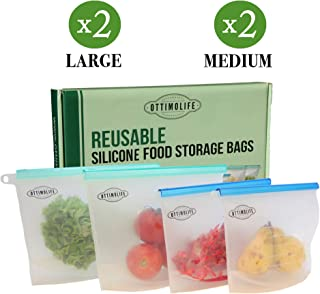 Ottimolife Reusable Silicone Food Storage Bags - 4 Pack Silicone Reusable Food Bag | Airtight Seal Silicone Ziploc Bags For Snack Fruit Vegetable Meat Sandwich | Dishwasher Safe Silicone Bags Reusable