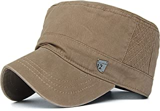 Rayna Fashion Men Women Vintage Distressed Washed Cotton Twill Cadet Army Cap Adjustable Military Hat Flat Top Baseball Cap