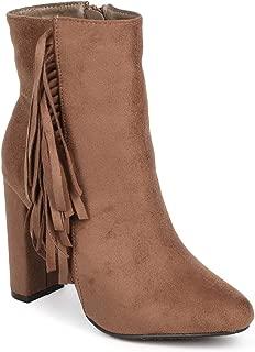 Women Vertical Suede Fringe Almond Toe Block Heel Ankle Bootie DD65