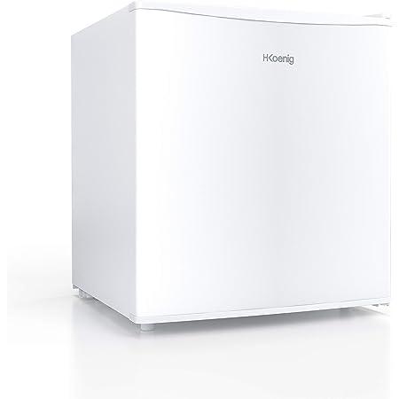H.Koenig FGX480 Mini Réfrigérateur Frigo à froid statique 46L pose libre Blanc, Classe énergétique E, Petite taille compact 51cm, Silencieux, Glaçons 4L, Thermostat réglable, Porte réversible