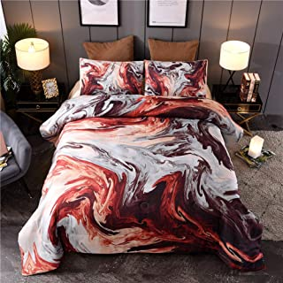 Queen Size Comforter Set Colorful Marble Bedding 3 Pcs Marble Comforter Sets Oil Painting Design Matching Pillow Sham