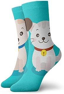 tyui7, Cute Puppy and Kitten Cartoon Vector Antideslizante Calcetines de compresión Cosy Athletic 30cm Crew Calcetines para hombres, mujeres, niños