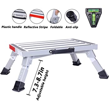 "Homeon Wheels Stable RV Steps Adjustable Height Aluminum Folding Platform Step with Non-Slip Rubber Feet, Reflective Stripe, Handle, RV T Level, More Stable Up to 1000 lbs 16.5"" x 12.2"" RV Step Stool"