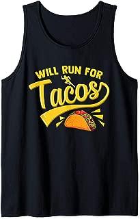 Funny Running Runner Mexican Taco Shirt WILL RUN FOR TACOS Tank Top