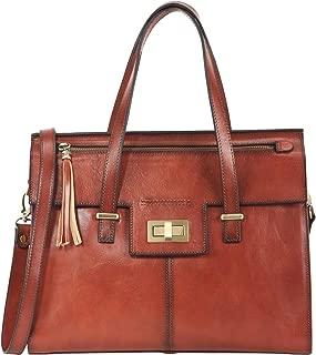 Vintage Full Grain Italian Leather Purses and Handbags for Women Satchel Bag Ladies Tassel Tote Messenger Shoulder Bag Brown