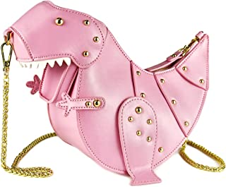 DUSUN Women Messenger Bags Dinosaur Shape PU Leather Rivet Chain Crossbody Shoulder Bag Girl Mini Clutch Purse (Pink)