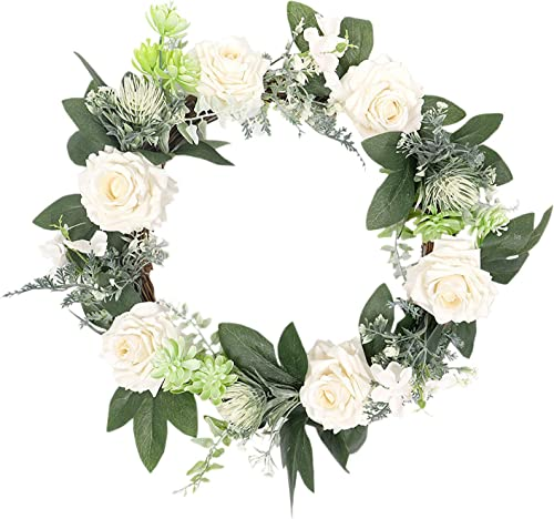 popular 15.7In Artificial Rose Flower Wreath for high quality Front outlet sale Door Fake Rose Door White Spring Wreath Door Decoration for Wedding, Home Décor, Christmas Party outlet online sale