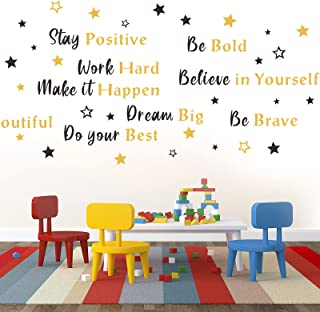 6 Sheets Inspirational Wall Decals Peel and Stick Be Bold Be Brave Be Youtiful Decals Positive Quotes Sayings Phrases Wall...