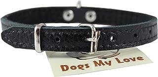 Dogs My Love Genuine Leather Felt Padded Dog Collar X-Small 11