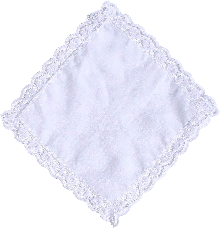 Thomas Ferguson - Ladies White Irish Linen Handkerchief - BH131 Floral Lace Edge