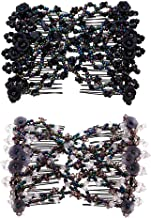 Casualfashion 2 Pcs Magic Hair Comb for Lady Women Girls Hair Styling Combs, Easy Stretch Beaded Combs Clips